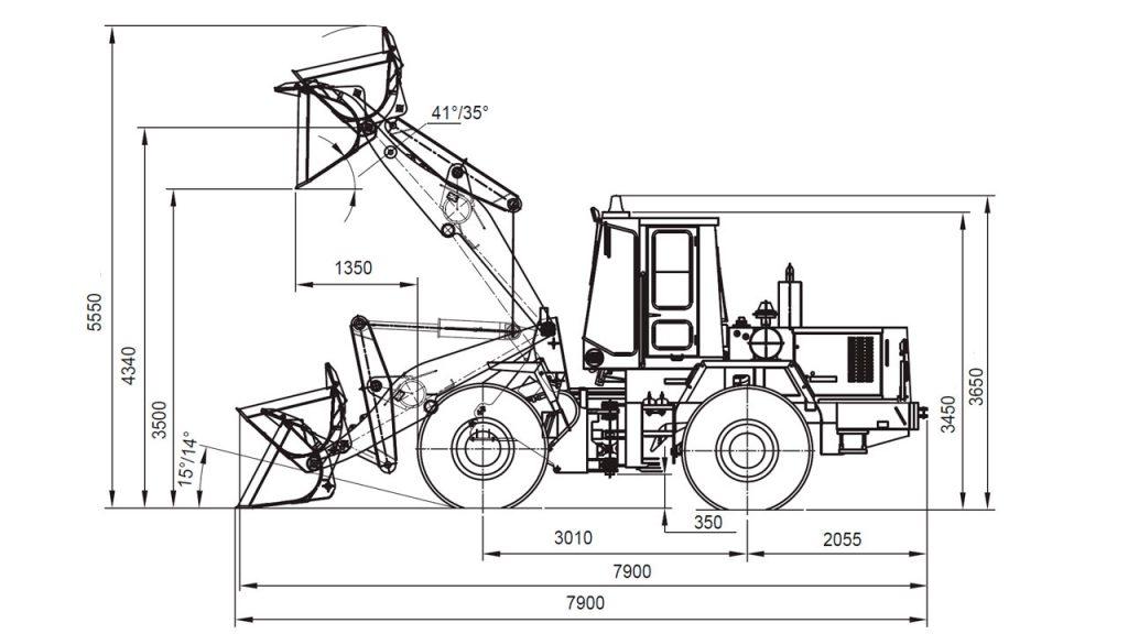 Технологическая схема фронтального погрузчика Амкодор 342В-01
