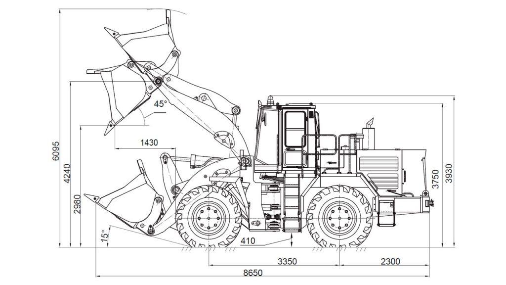 Технологическая схема универсального погрузчика Амкодор 371АС