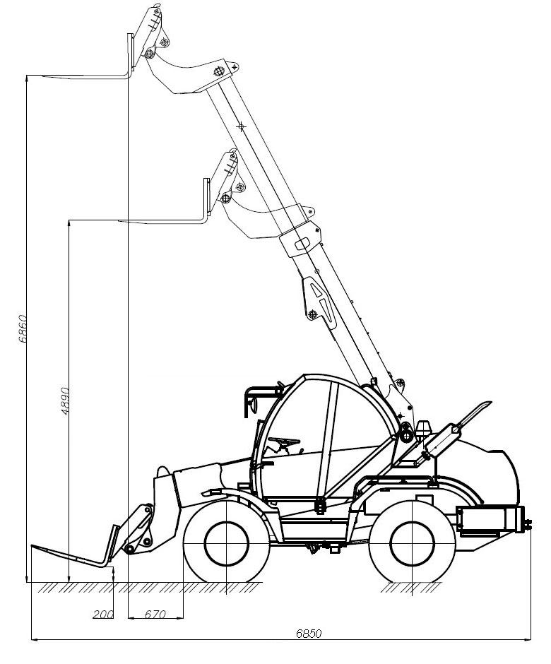 Погрузчик универсальный с телескопической стрелой Амкодор 527 с вилами грузовыми 525.58.00.000