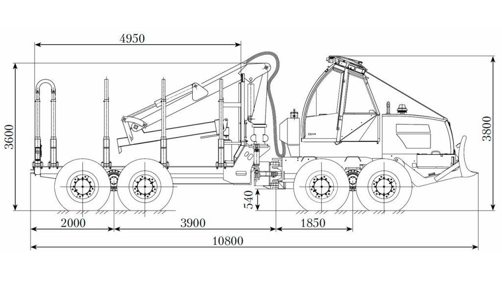 Технологическая схема форвардера Амкодор 2682-01