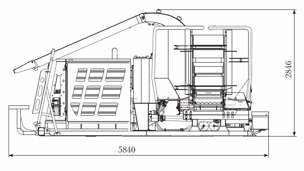 Технологическая схема машины модуля рубильного