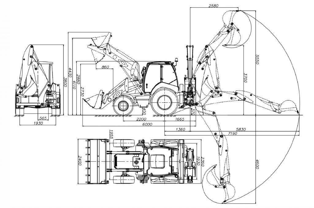 Размерная схема экскаватора - погрузчика Амкодор 732