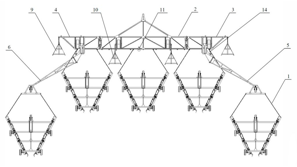 Рисунок 3 – Валкователь фрезерного торфа АТВл-18 пятисекционный (вид сверху)