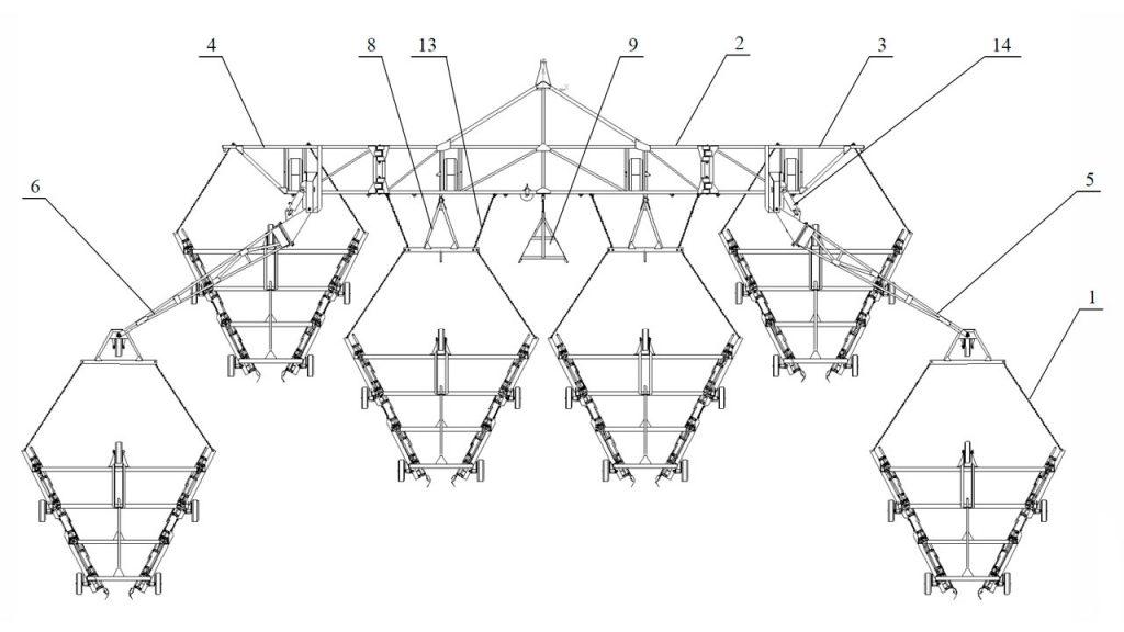 Рисунок 1 – Валкователь фрезерного торфа АТВл-18 шестисекционный (вид сверху)