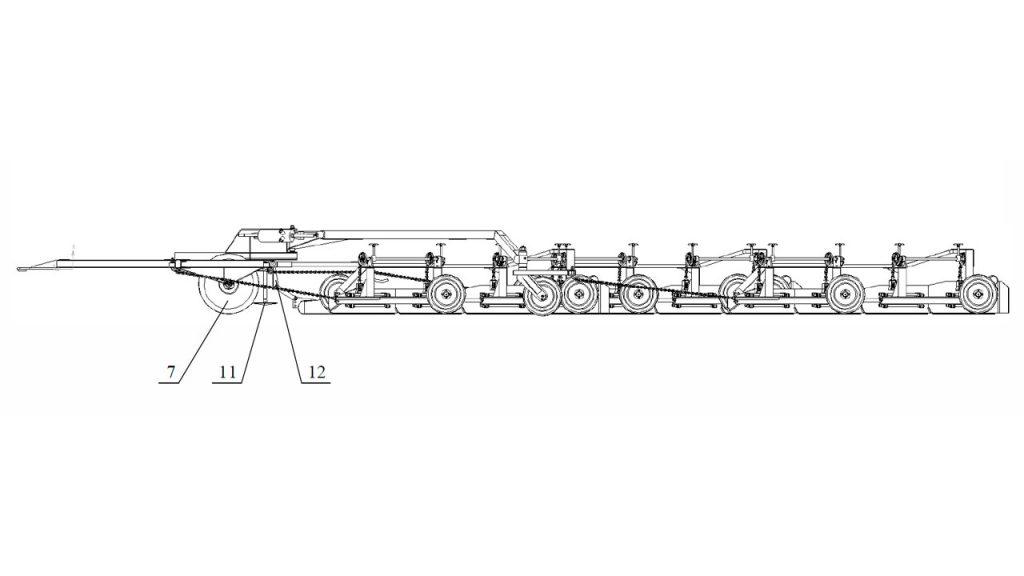 Рисунок 2 – Валкователь фрезерного торфа АТВл-18 шестисекционный (вид сбоку)