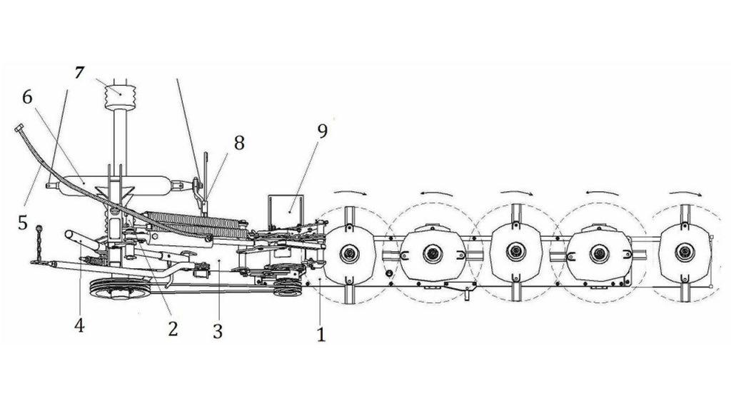 Конструктивная схема косилки ротационной навесной АС-1-01