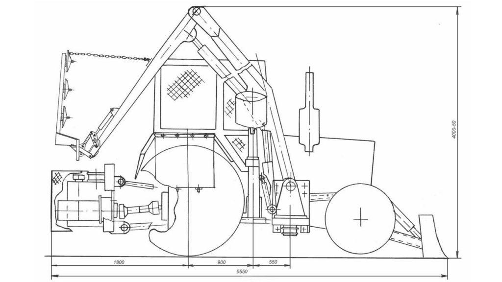 Транспортное положение ОКН-05 с косилкой