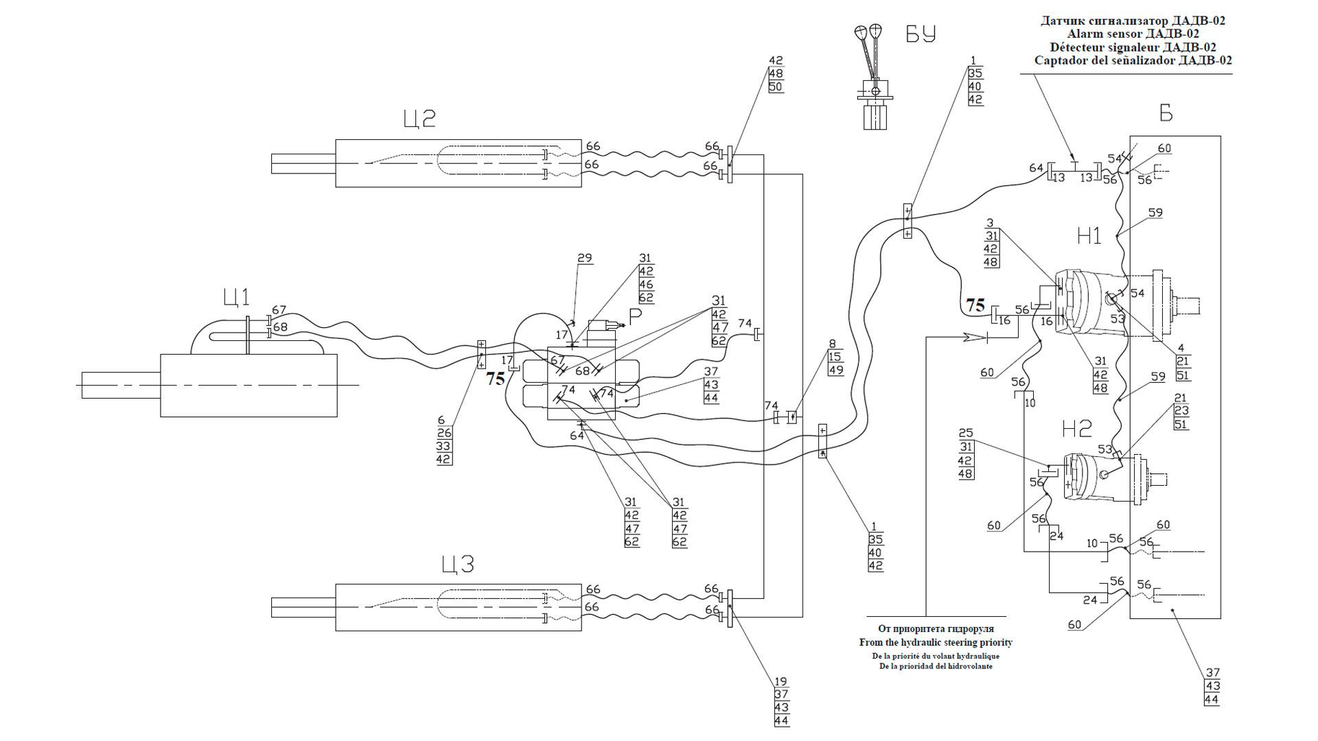 Гидросистема погрузочного оборудования ТО-18Б.2.06.00.000-02