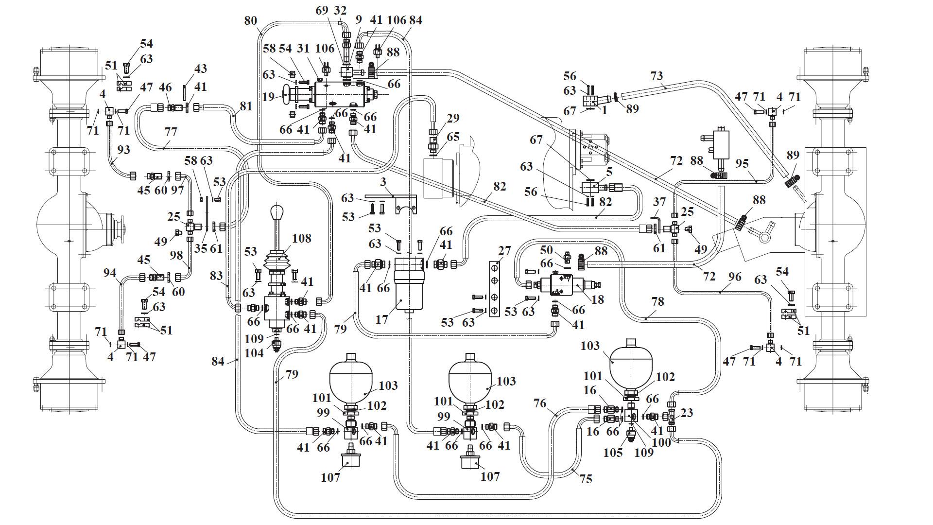 Гидросистема тормозов 342B.10.00.000-01