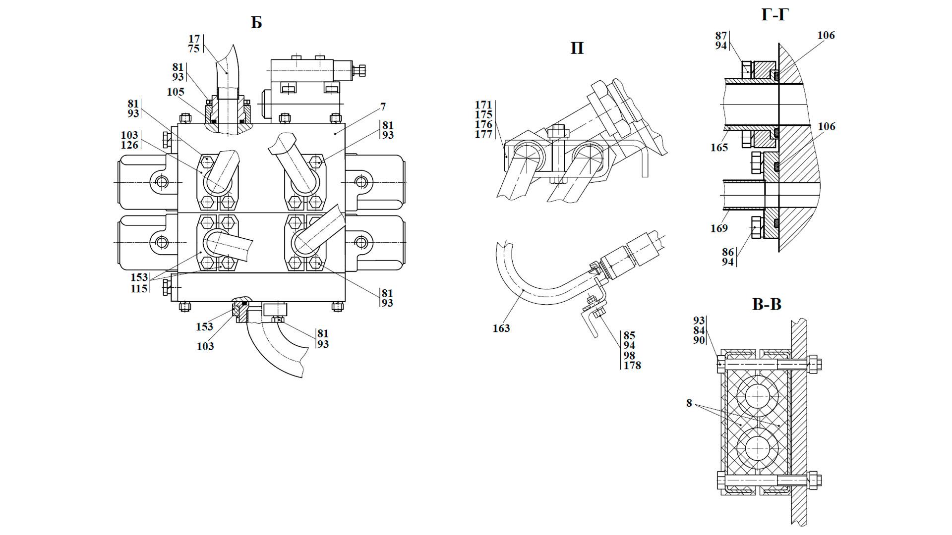 Гидросистема погрузочного оборудования ТО-28А.76.00.000-04, ТО-28А.76.00.000-06