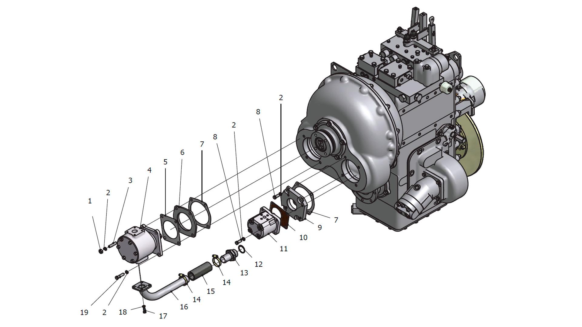 Передача гидромеханическая унифицированная У35.615-00.000-09, У35.615-00.000-14