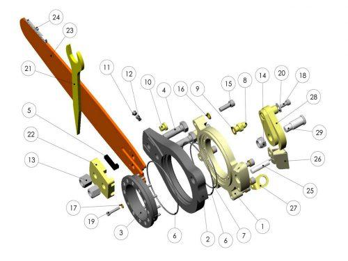 Пильный узел верхней пилы KESLA 25RHII(RHS)