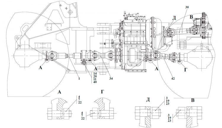Установка карданных валов ТО-18Б3.04.00.000